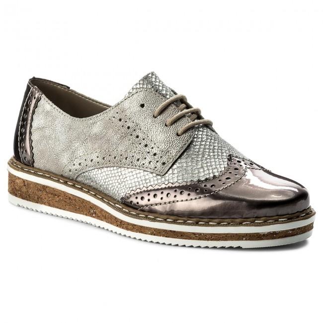 f6fb268121 Oxford cipők RIEKER - N0312-91 Grau Kombi - Oxford - Félcipő - Női ...