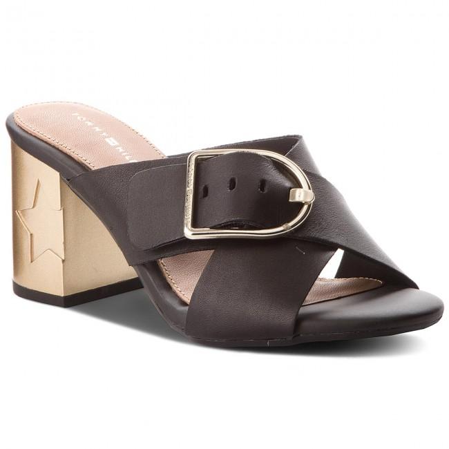 Papucs TOMMY HILFIGER - Mid Heel Mule Oversized Buckle FW0FW02584 Black 990 1290d0e384