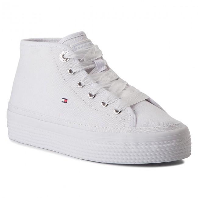 c2d89efcff Sportcipő TOMMY HILFIGER - Pastel Mid Flatform Sneaker FW0FW02985 White 100
