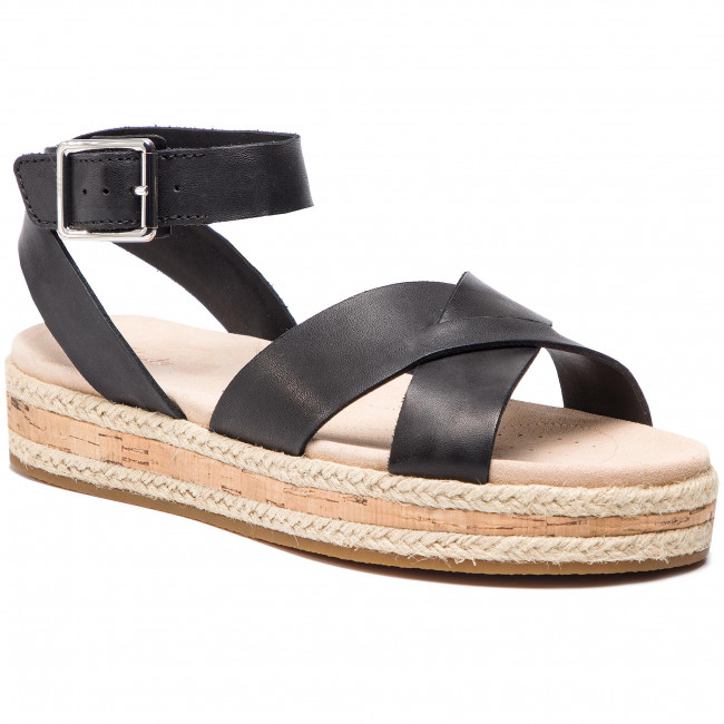 Espadrilles CLARKS - Botanic Poppy 261419964 Black Leather ... 8dfd6ace38
