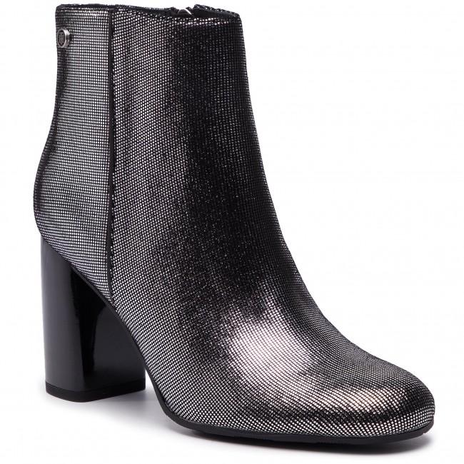 b7c7c1aebe Magasított cipő TOMMY HILFIGER - Shiny Metallic Suede Bootie FW0FW03695  Dark Silver 015