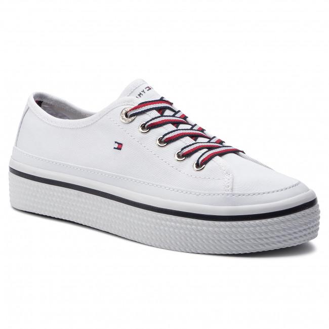 2928a854e1 Teniszcipő TOMMY HILFIGER - Corporate Flatform Sneaker FW0FW04259 White 100  - Tornacipők - Félcipő - Női - www.ecipo.hu