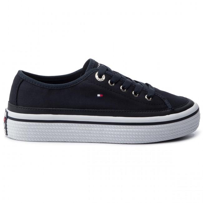 ceb99720e3 Teniszcipő TOMMY HILFIGER - Corporate Flatform Sneaker FW0FW04259 Midnight  403