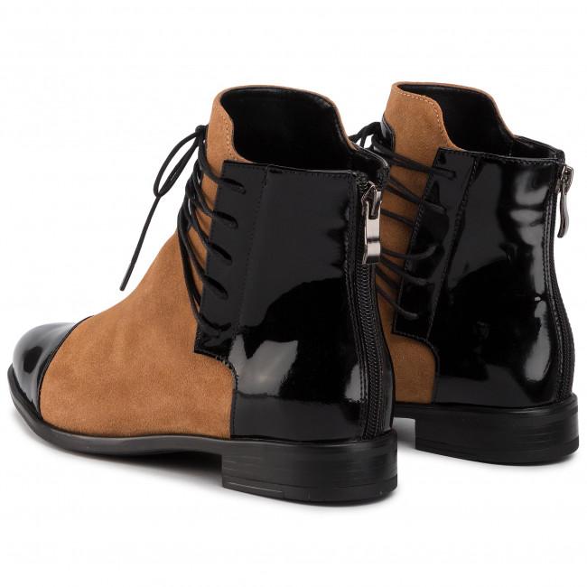 Magasított cipő ROBERTO - 288 Czarny Lak/Camel Welu - Bokacsizmák - Csizmák és egyebek - Női afNaY