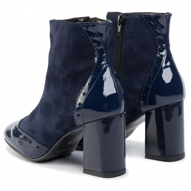 Magasított cipő SAGAN - 3297  Granatowe Lakier/Granatowe Welur - Bokacsizmák - Csizmák és egyebek - Női yI88R