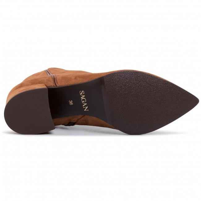 Magasított cipő SAGAN - 3840 Brąz Welur - Bokacsizmák - Csizmák és egyebek - Női nwXQp