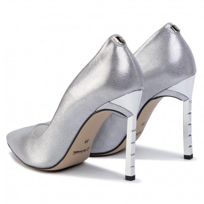 Tűsarkú R.POLAŃSKI - 0808 Srebrny Grid - Tűsarkú cipő - Félcipő - Női J4FYL