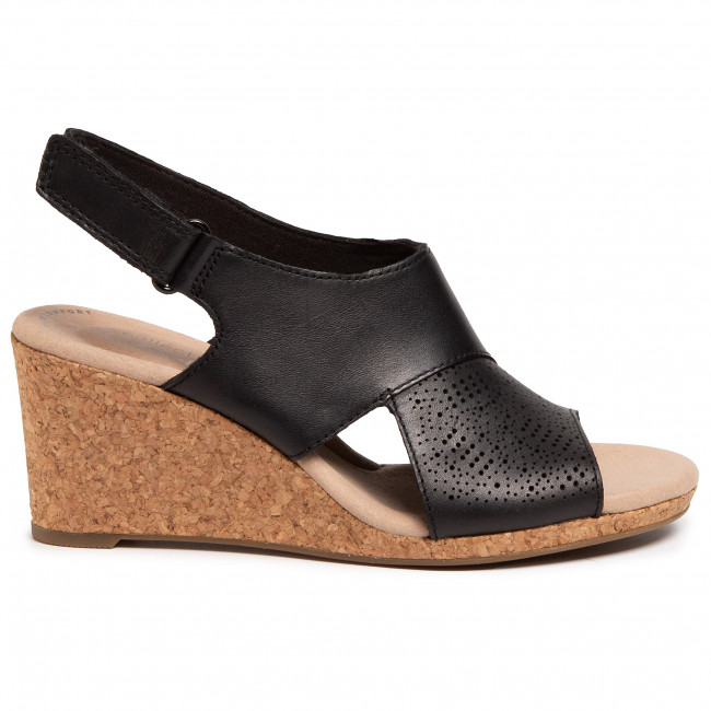 Szandál CLARKS - Lafley Joy 261454214 Black Leather - Magasított sarkú cipők - Papucsok és szandálok - Női 4VVSo