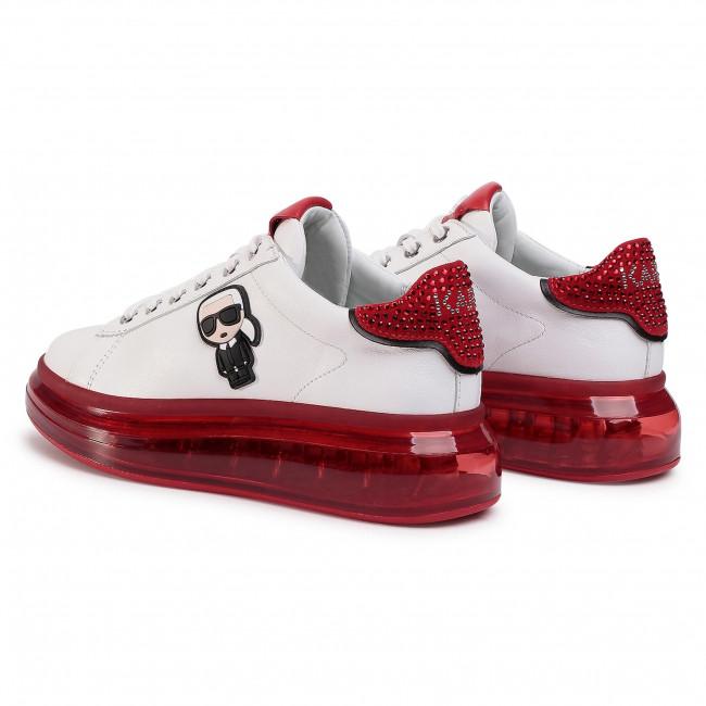 Sportcipő KARL LAGERFELD - KL62630  White Lthr W/Red - Sneakers - Félcipő - Női B3d2g