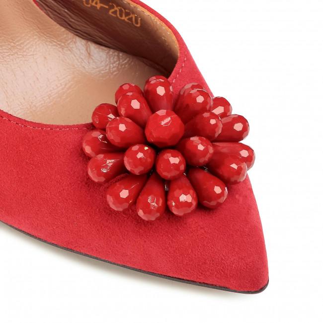 Tűsarkú R.POLAŃSKI - 1132 Czerwony Zamsz - Tűsarkú cipő - Félcipő - Női s5b0L