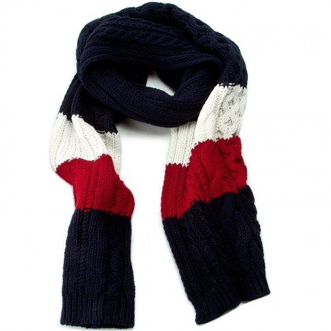 Sál TOMMY HILFIGER - Th Signature Knit Scarf AW0AW01512 Midnight Winter  White Chilli Pepper cdcd48f7c8