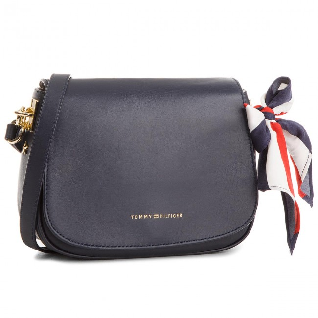 b7b2e55d99 Táska TOMMY HILFIGER - Iconic Foulard Leather Saddle Bag AW0AW04960 413