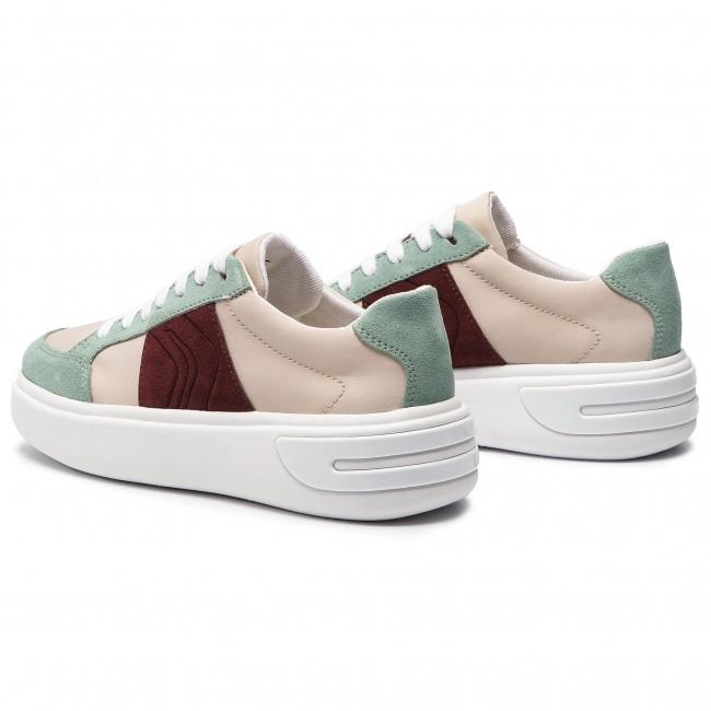 Sportcipő GEOX - D Ottaya F D92BYF 01122 C5K3U Cream/Lt Green - Sneakers - Félcipő - Női