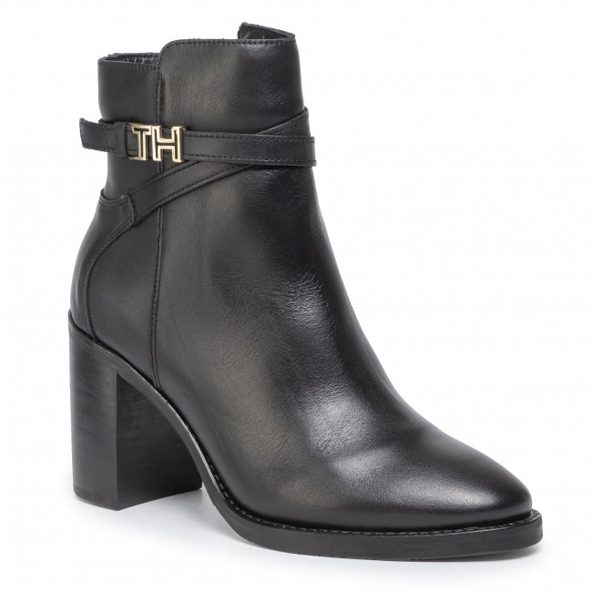 Magasított cipő TOMMY HILFIGER - Th Hardware Leather High Bootie FW0FW04284 Black 990