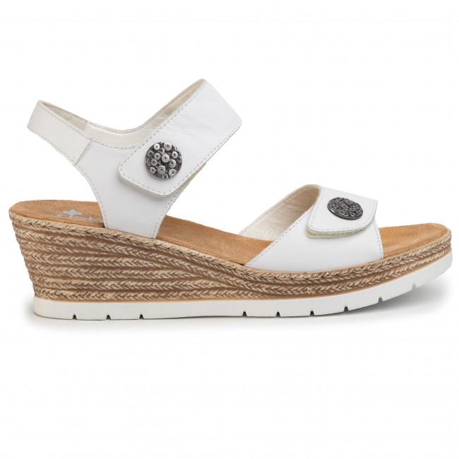 Szandál RIEKER V0271 80 Weiss Magasított sarkú cipők
