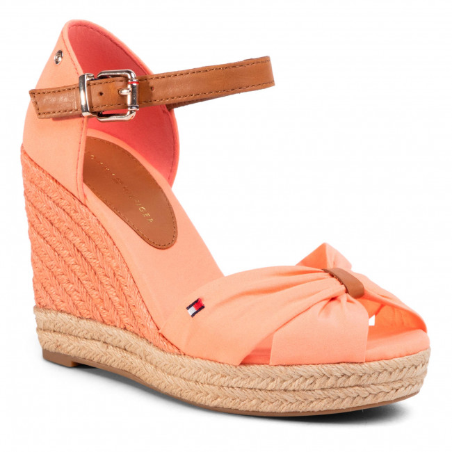 Espadrilles TOMMY HILFIGER - Basic Opened Toe High Wedge FW0FW04784 Island Coral SN7