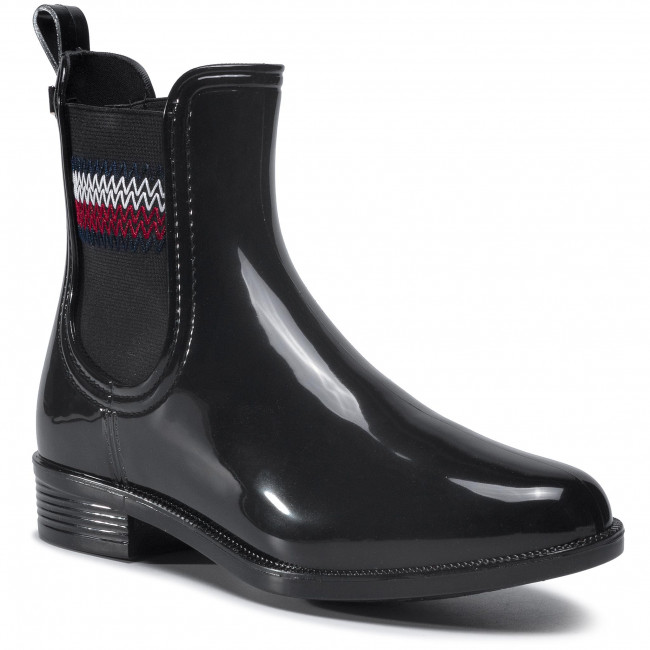 Gumicsizmák TOMMY HILFIGER - Corporate Elastic Rainboot  Black BDS