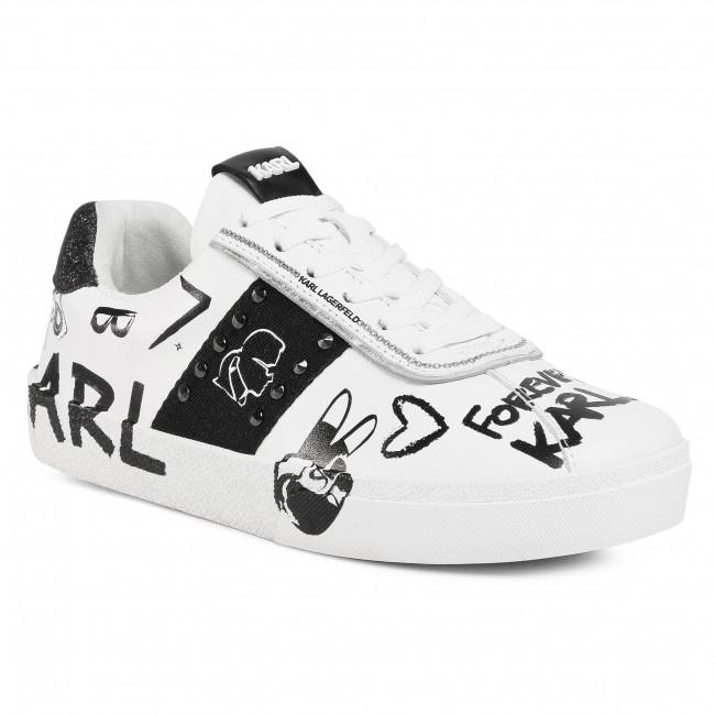 Sportcipő KARL LAGERFELD - KL60106  White Lthr W/Black 010