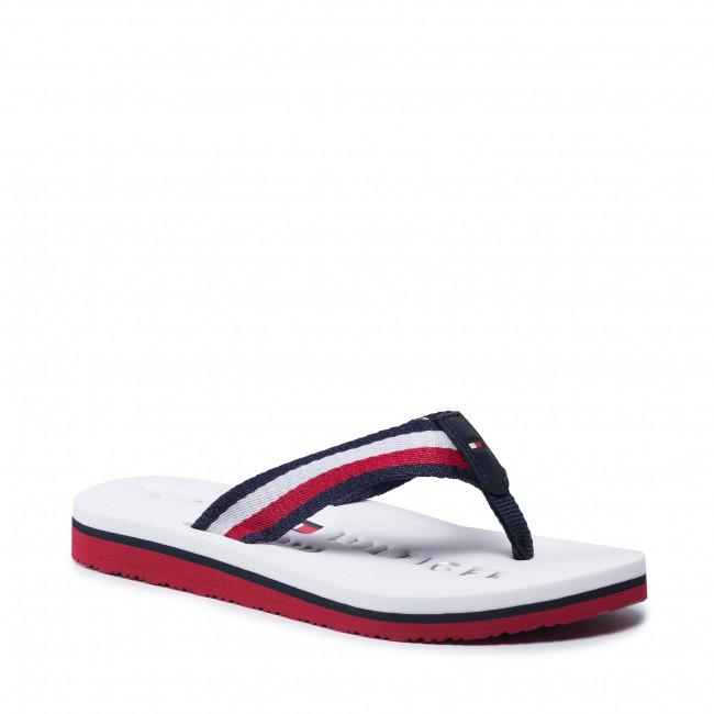 Vietnámi papucsok TOMMY HILFIGER - Ribbon Flat Beach Sandal FW0FW05667 White WHT