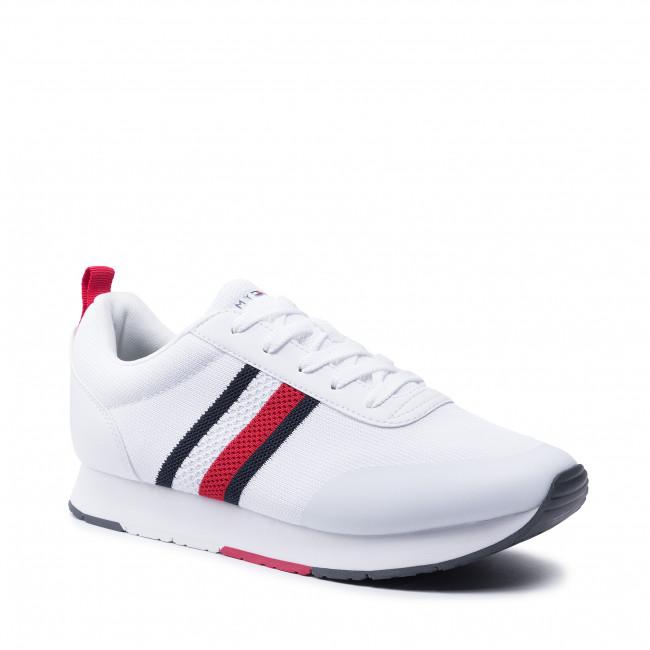 Sportcipő TOMMY HILFIGER - Retro Knit Stripes Runner FM0FM03610 White YBR