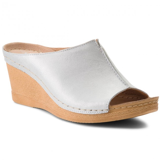 Papucs LASOCKI - 2008-05 Ezüst - Magasított sarkú cipők - Papucsok és szandálok - Női