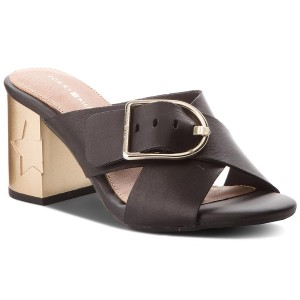 Papucs TOMMY HILFIGER - Mid Heel Mule Oversized Buckle FW0FW02584 Black 990 53d497772c