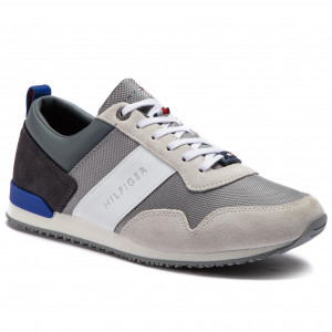 b15a0217b33ff Sportcipő TOMMY HILFIGER - Iconic Material Mix Runner FM0FM02042 Ice Light  Grey Mazarine Blue