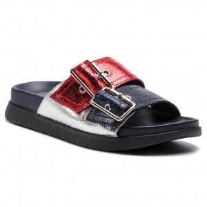Papucs TOMMY HILFIGER - Crackle Metallic Footbed Sandal FW0FW03805 Rwb 20 41a2ec0513