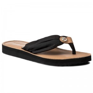 Vietnámi papucsok TOMMY HILFIGER - Leather Footbed Beach Sandal FW0FW00475 Black  990