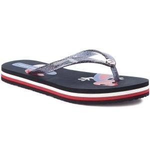 863e8c99e609 Vietnámi papucsok TOMMY HILFIGER Playful Print Beach Sandal FW0FW03406  Midnight 403