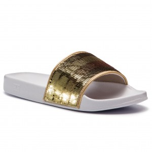 Papucs TOMMY HILFIGER - Tommy Sequins Pool Slide FW0FW03750 White 100 f3a3169048