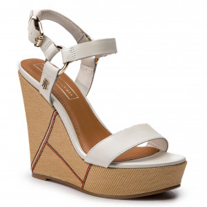 4b025abbfb Szandál TOMMY HILFIGER - Elevated Leather Wedge Sandal FW0FW03943 Whisper  White 121