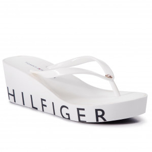 d2575cc87213 Vietnámi papucsok TOMMY HILFIGER Wedge Beach Sandal FW0FW04057 White 100