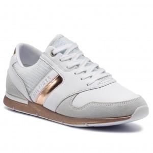 9b2971a9b8 Sportcipő TOMMY HILFIGER - Iridescent Light Sneaker FW0FW04100  White/Rosegold 901