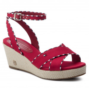 8aeed04a59 Espadrilles TOMMY HILFIGER - Corporate Detail Mid Wedge FW0FW04175 Tango  Red 611