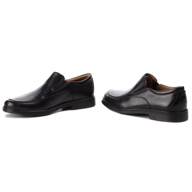 Félcipő CLARKS - Un Aldric Walk 261373517 Black Leather  - Alkalmi
