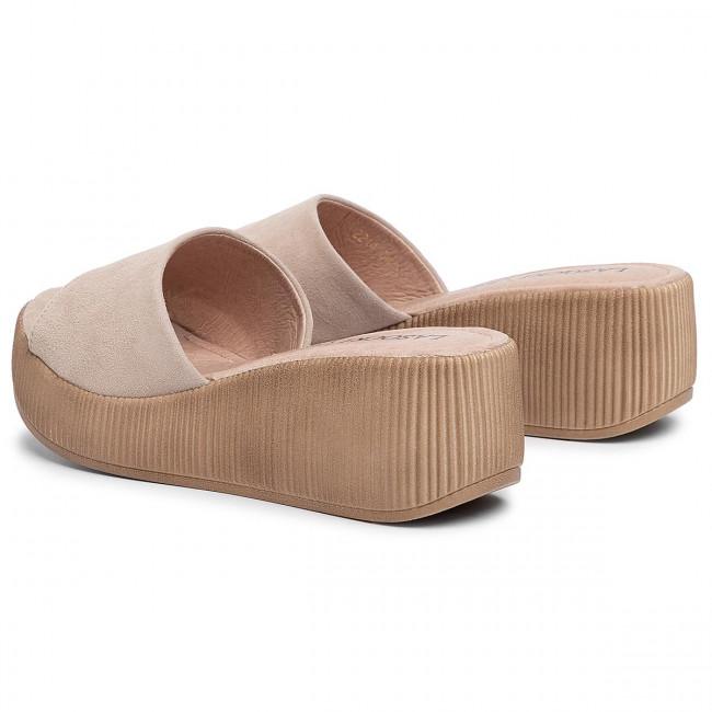 Papucs LASOCKI - 2214-04 Beige - Magasított sarkú cipők - Papucsok és szandálok